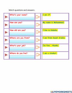 Interactive worksheet Match questions and answers