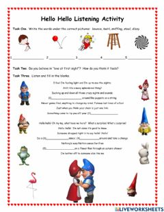 Interactive worksheet Hello Hello Listening Activity