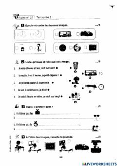 Interactive worksheet Test-2 passe passe 2