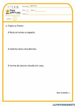 Interactive worksheet 1.º ano - Exp.Live