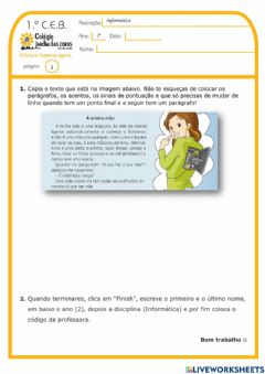 Interactive worksheet 2.º ano - Exp.Live