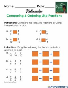 Interactive worksheet Comparing & Ordering Like Fractions