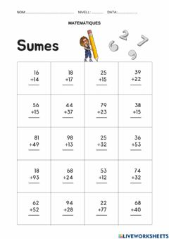 Interactive worksheet Sumes portant-e 2 dígits