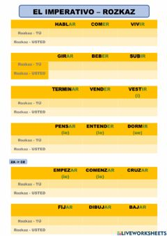 Interactive worksheet Imperativo, tú, usted