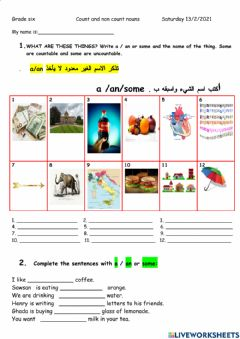 Interactive worksheet Count-Non count nouns  assignment