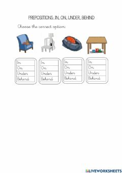 Interactive worksheet Prepositions: in, on, under, behind