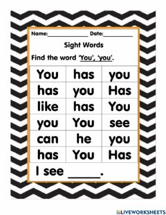 Interactive worksheet Sight Word You