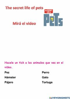 Interactive worksheet Spanish Secret life of pets