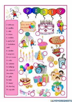 Interactive worksheet Party vocabulary