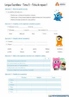 Interactive worksheet Lengua - Repaso T5-01