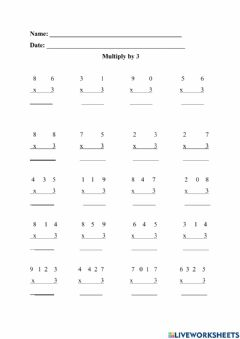 Interactive worksheet Multiplication by 3