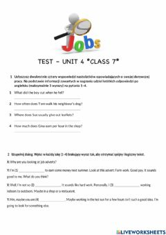 Interactive worksheet Unit 4 praca