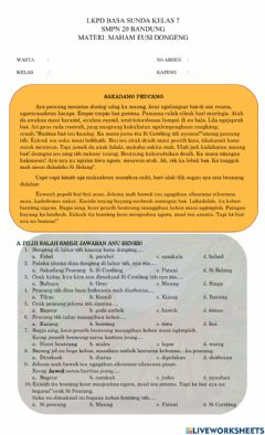 Interactive worksheet Lkpd interaktif dongeng fabel