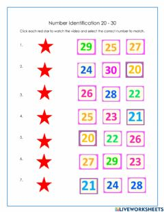Interactive worksheet Numbers 20-30 ASL