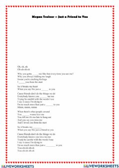 Interactive worksheet Megan Trainor: Just a friend to you