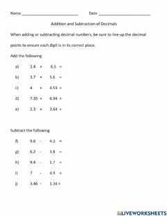 Interactive worksheet Addition and Subtraction of Decimals