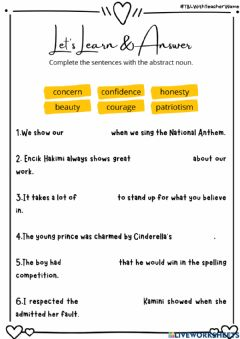 Interactive worksheet ABSTRACT AND CONCRETE NOUNS (TB page 19)