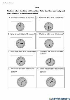 Interactive worksheet Time - Elapsed Time