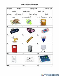 Interactive worksheet Things in the classroom