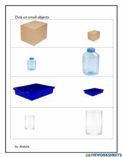 Interactive worksheet Find small objects