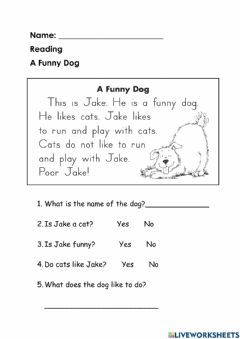 Interactive worksheet Jake the Funny Dog
