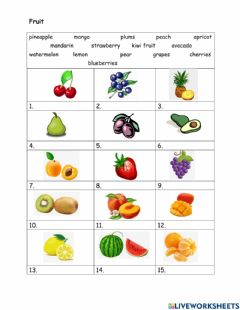 Interactive worksheet Fruit