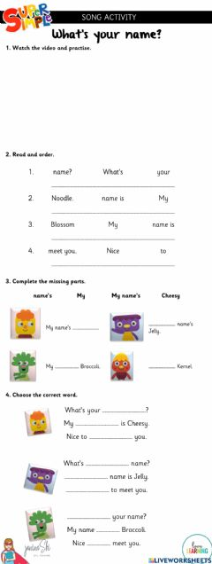 Interactive worksheet What's your name? Song Practice