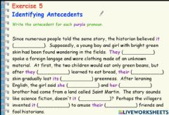 Interactive worksheet Pronouns and antecedents in a story