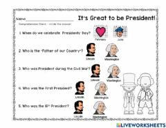 Interactive worksheet Presidents Day