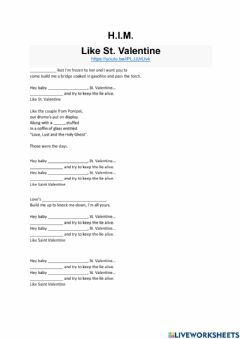 Interactive worksheet HIM - Like St. Valentine