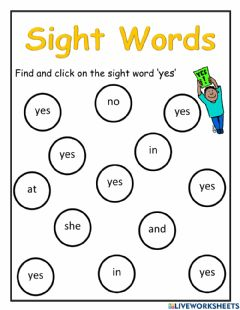 Interactive worksheet Sight Word Yes
