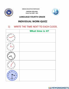 Interactive worksheet Telling the time - past