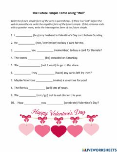 Interactive worksheet Future Simple Tense using -will-