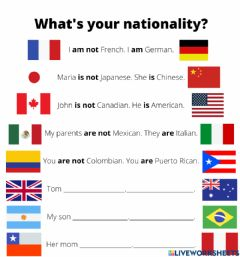 Ficha interactiva What's your nationality?