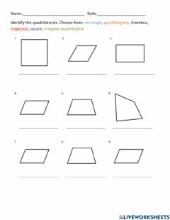 Interactive worksheet Quadrilaterals