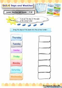 Interactive worksheet We Can2 U4 L2 : I can put the days of the week in the correct order.