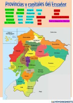 Interactive worksheet Provincias y capitales del Ecuador