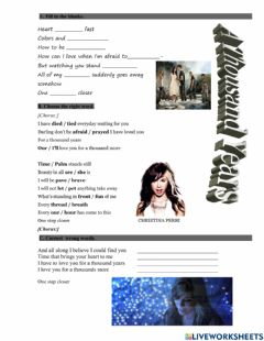 Interactive worksheet A Thousand Years