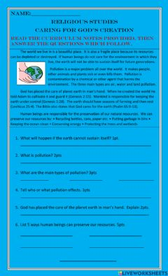 Interactive worksheet Caring For God's Creation