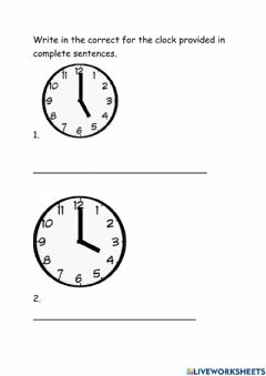 Interactive worksheet Time to the Hour