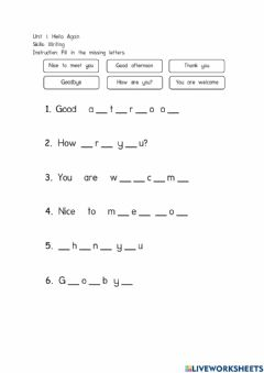 Interactive worksheet Unit 1: Hello Again