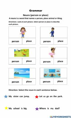 Interactive worksheet Nouns person and place
