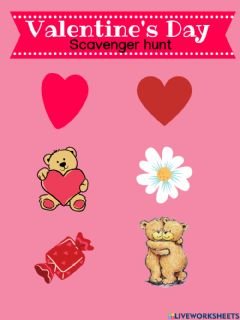 Interactive worksheet Valentine's scavenger hunt