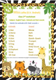 Interactive worksheet Match animals with their sounds