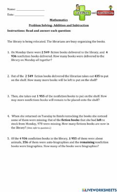 Ficha interactiva Word Problems- Addition and Subtraction