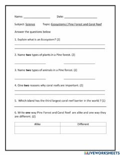 Interactive worksheet Pine Forest and Coral Reef