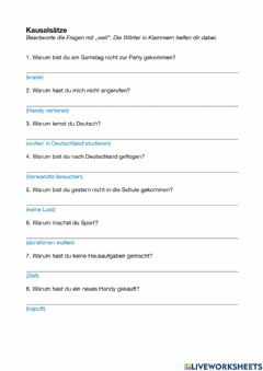 Interactive worksheet Kausalsätze