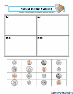 Interactive worksheet Matching Coin Values
