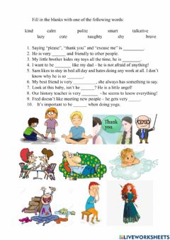 Interactive worksheet Personal qualities