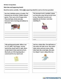 Interactive worksheet Topic Sentence and Supporting Details